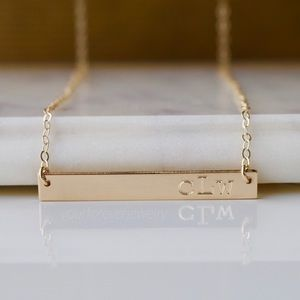 Jewelry - 14K Gold Filled Engraved Monogram Bar Necklace